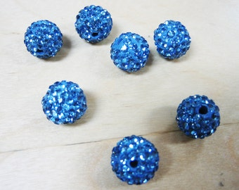 12pcs 10mm Blue Pave Crystal Ball Bead