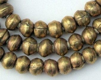 85 Metal Bicone Beads - Brass Spacer Beads - Round Brass Beads - Ethiopian Beads Handmade African Beads - Fair Trade Beads (MET-RND-BRS-223)