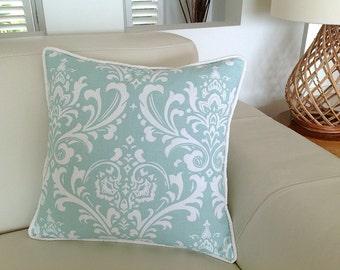 Damask Duck Egg Blue Designer Cushions Robin Egg Blue Linen Pillows Ivory Scatter Cushions Decorative Pillows Coastal, Urban