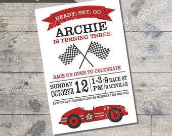 Vintage RACE CAR Kids party invitation DIY Printable Car theme party invitation