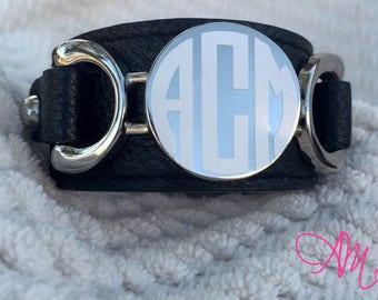 Monogram Leather Bracelet, Monogram Black Leather Bracelet, Monogram Bracelet