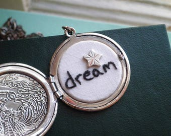 Dream - Embroidered Word Locket Necklace - Inspiring Secret Message Embroidery Necklace Silver Star Hand Stitched Dream Minimal Jewelry Gift