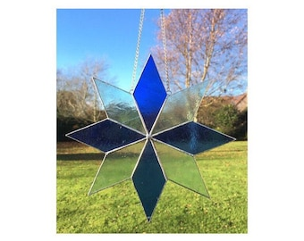 Stained glass blue star suncatcher decoration