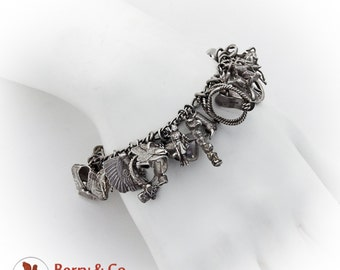 Western Theme Charm Bracelet 35 Figural Charms Sterling Silver 1940