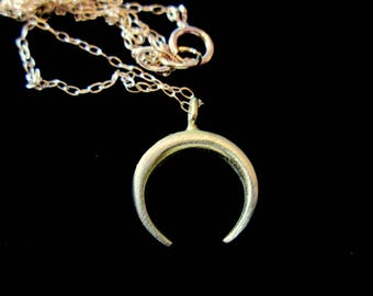 Delicate Upside Down Crescent Double Horn Necklace