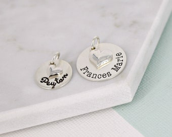 "Engraved name charm with slanted heart • Personalized name charm - 9/16"" or 3/4"" Name charm with sterling silver slanted heart charm"