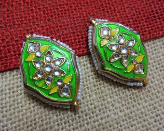Ethnic Jewelry Connector, Acrylic Pendant, Indian Jewelry Supplies, Pendant with Kundan work, Spacer Beads - Green 2 pcs