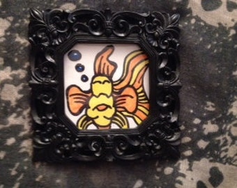 Original Framed Gold Fish Art