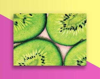 Kiwi Blank Notecard - Blank Inside - Kiwi Illustration - Colored Pencils - Drawing - Handmade