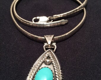 Estate Jewelry-Turquoise pendant with 925 omega chain