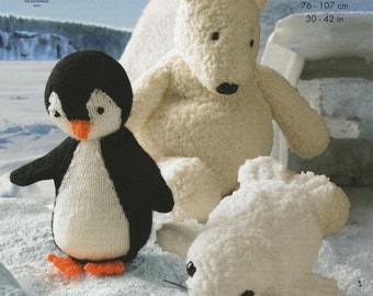 Polar Bear, Penguin & Seal Knitting Pattern