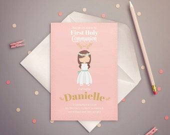 FIRST COMMUNION Invitation Girl, Pink & Gold. PRINTABLE.