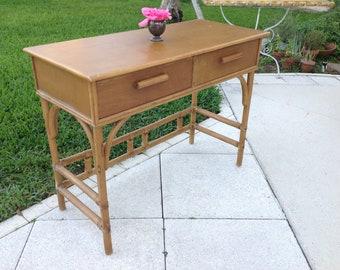 BAMBOO RATTAN DESK / Mid Century Modern Style Natural Bamboo Desk / Ficks Reed Style Desk / Palm Beach Rattan Desk at Retro Daisy Girl
