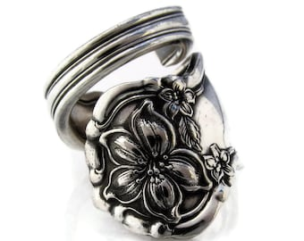 Spoon Ring, 1910 Silver Orange Blossom Choose Your Size Wrapped
