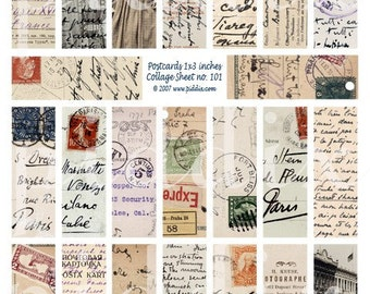 French, German and Italian Vintage Postcards in 1x3 inches for Microscope Slides handwriting stamps -- piddix digital collage sheet no. 101