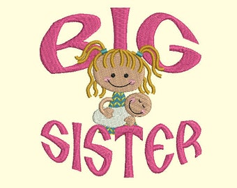 Big sister machine embroidery design Instant Download