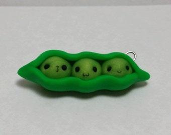 Handmade Polymer Clay Pea Pod