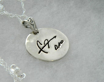 Signature Small Round Pendant in Memory of Dad Handwriting Jewelry in Sterling Silver