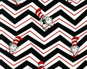 Cat chevron Stripe in Black, Dr Seuss The Cat in the Hat 2 by Robert Kaufman,  1/2 Yard