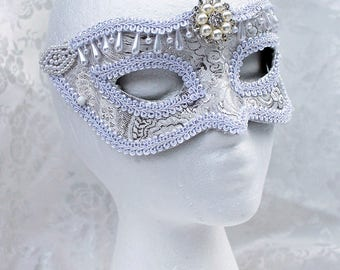 White Brocade Bridal Mask, White and Silver Brocade and Leather Wedding Bridal Masquerade Mask