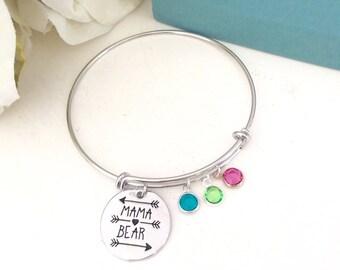 Mother Gift, Mothers day gift, Family tree bracelet - Mama Bear Bracelet - Adjustable family tree bangle, grandma gift Personalized bangle