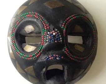 Vintage Akan Anoma Beaded Wood Mask Ghana Africa