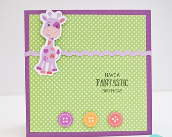 Child birthday card with giraffe character / die-cut card / interactive card