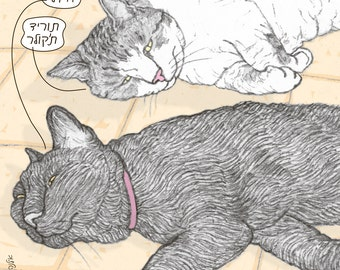 Cats magnet - 'I'm hot' in Hebrew -  featuring Rafi and Spageti, the famous Israeli cats from Ha'aretz Newspaper Comics
