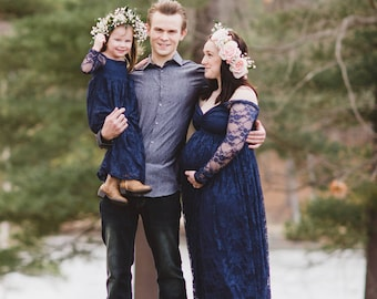 Mommy and daughter set navy lace dress with lining/flow effect/maternity dress/wedding gown/bridal gown/prom/senior photo