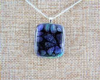 Handmade Clear Black Dichroic Flower Bubble Accents Fused Glass Necklace MADE IN USA