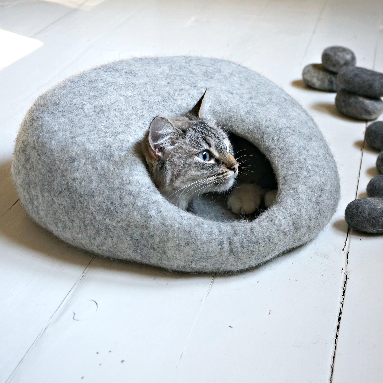 Wool Cat Cave Grey Cat Bed Felt Cat House Felted