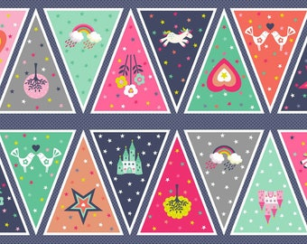 FANTASY fabric Coupon cotton patchwork blue Bunting to make a banner x60cm