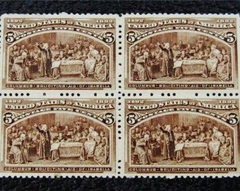 US Postage Block of 4 of #234, 5 cent, 1892, Columbus and Isabella, OG, H