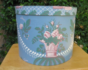 Blue hat box, wallpaper box, 19th century repro