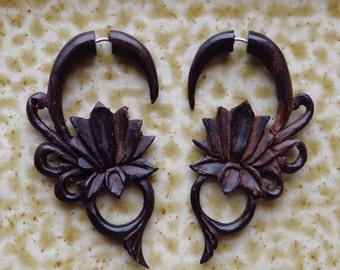 MALEE - Hand Carved Tribal Earrings - Lotus Flower Design - Natural Brown Sono Wood