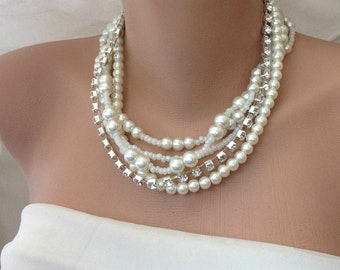 Ready to Ship, Ivory Glass Pearl Necklace, Multi Strands Jewellery, Handmade Layered Necklace