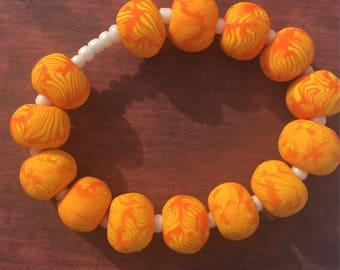 Beaded Bracelet Orange and Yellow