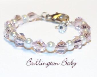 Baby Bracelet, Baby Pearl Bracelet, Baby Pearl and Crystal Bracelet, Girls Bracelet, Girls Pearl Bracelet, Girls Crystal Bracelet (B14)