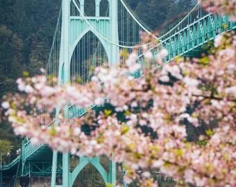 12x16 Canvas, St. Johns Bridge in Spring, Portland, OR