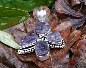 4 rough amethysts pendant, silver 925 : stone of wisdom and humility