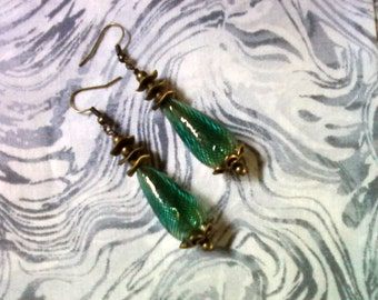 Blue Green and Brass Earrings (1486)