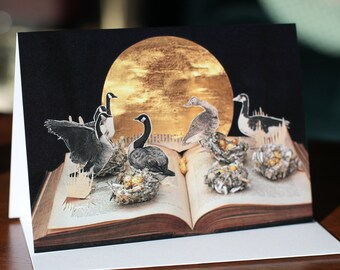 Six Geese a Laying card from an altered book sculpture