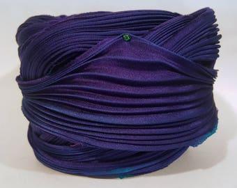 1 yd Hand Dyed Shibori Silk Ribbon Purple Shibori Girl