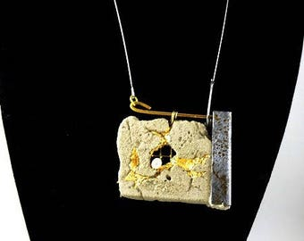 "Concrete jewelry contemporary ""Scars"" pendant necklace"