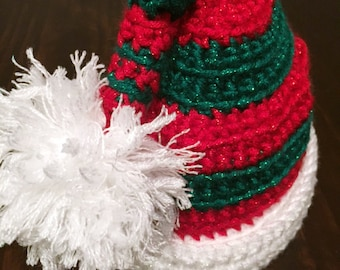 Santa's Little Helper Crocheted Hat ( Holiday Hat for Babies, Toddlers, and Adults)