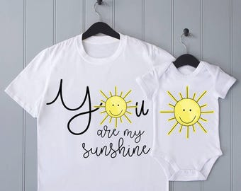 Sunshine parent baby matching T-shirt bodysuit set - baby shower gift, you are my sunshine, mothers day gift, baby vest, baby onesie, mommy