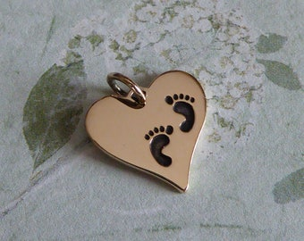 Natural Bronze Heart With Footprints Charm ~ Pendant