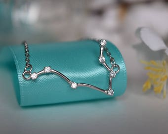 Gemini Constellation Sterling Silver/Stainless Steel Necklace, Constellation Necklace, Silver Necklace, Zodiac Necklace, Zodiac Jewelry