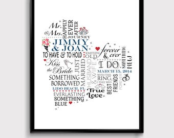 Personalized Wedding Gifts, Wedding Art Prints, Personalized Wedding Art, Customized Wedding Gifts, Wedding Quotes