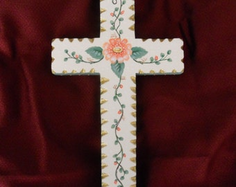 Wall Cross, Hand Painted with Peach Colored Flowers, Ready to Hang, Signed by Artist